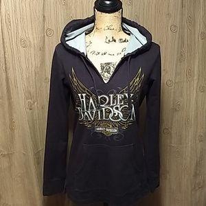Ladies V-neck Harley Davidson Hooded Swestshirt
